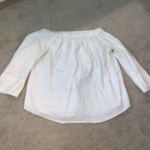 Off The Shoulder White 3/4 Length Shirt